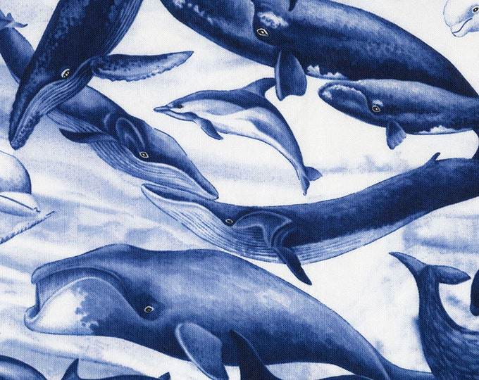 Timeless Treasures -  Ruth - Whales - Blue Background - Sold by the Yard