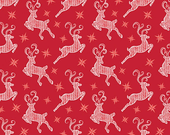 Contempo - Nordic Holiday - Red Reindeer  - 1886-10 - Fabric by the Yard