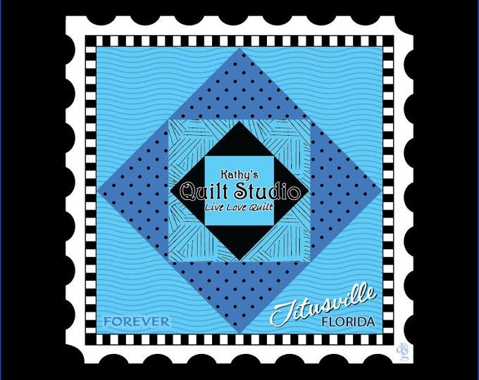 """Row by Row - Charm Stamp - Kathy's Quilt Studio Logo - 5.5""""x5.5"""" Charm -  Row x Row"""