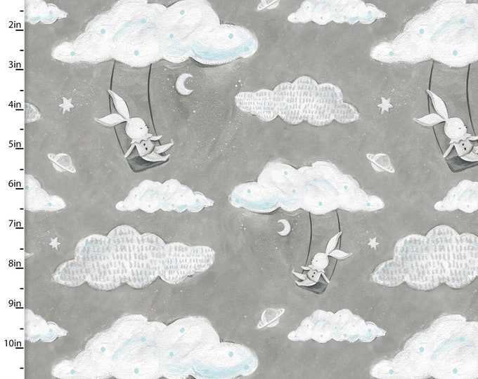 Three Wishes -Adventure in the Sky -  Rabbits on Cloud Swings - Rabbits  -  Gray Background -  14655  - Sold by Yard