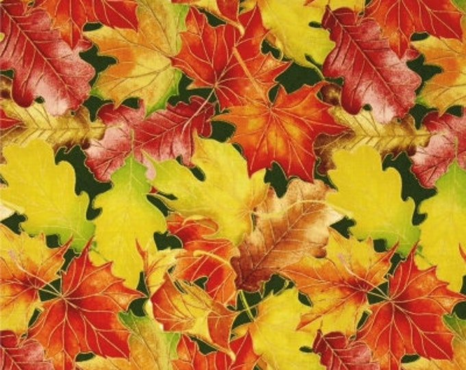 Quilting Treasures - Harvest Bounty - Autumn - Leaves  - Leaves on Green Background-Leaves - Gold Metallic - 1649-24499-F - Sold by the Yard