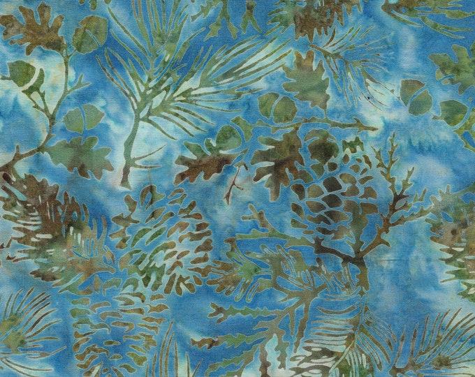Island Batik - Pine Leaf  - Pine Batik - Batik - Waterfall - Blue  - Sold by the Yard