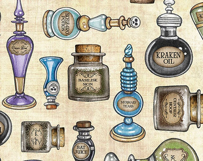 Quilting Treasures - Spellbound - Sold by Yard - Potions  - Cream - 26610 E