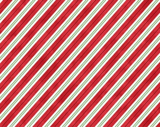 "Northcott - Santa Stop Here - Candycane Stripe - Christmas - Holiday Fabric - Santa Fabric - 23488 49 -  36""x44"" - Sold by the Yard"