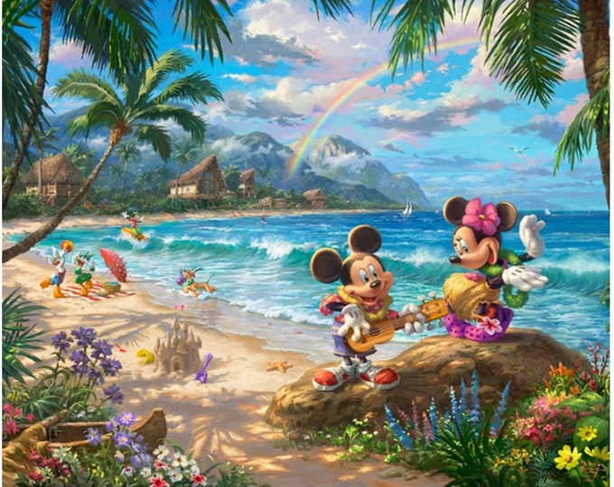 Davids Textile - Disney Magic Panel - Hawaii -  By Thomas Kinkade  - PANEL -  Mickey and Minnie Panel - Panel  - Sold by the Panel -