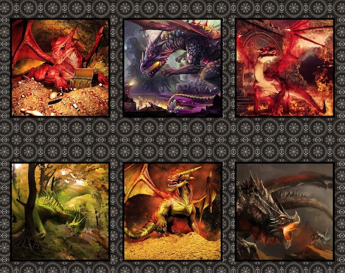 In the Beginning Fabrics - Dragons - Jason Yenter - Panel - Red Dragon - Midevil - Castles  - 2DRG1 - Red- Sold by the Panel