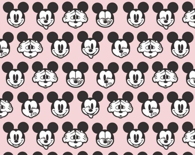 Camelot - Its a Mickey Thing - Mickey Expressions  -  Disney - Mickey Head  - Mickey - Disney Fabric  - PINK - Sold by the Yard