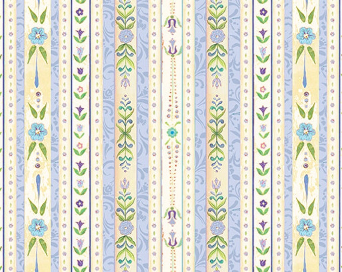 Benartex - White Woodland - Country Stripe - Periwinkle/ Multi  - Border Stripe - 07582-53 - Sold by the Yard