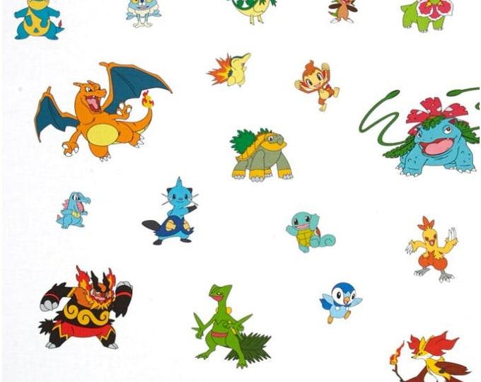 "Robert Kaufman - Pokemon - Pokemon Fabric - White background - 36"" Repeat - Large Pokemon - Sold by the Yard"