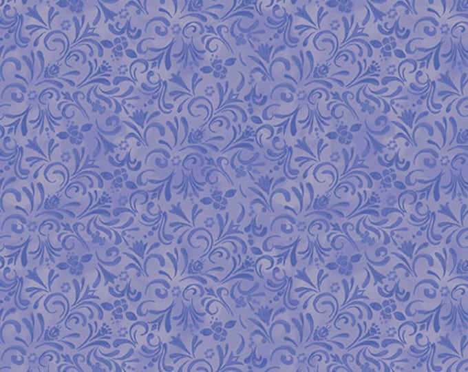Benartex - White Woodland - Painterly Swirl - Periwinkle - 07584-50 - Sold by the Yard