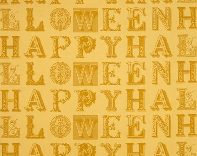 Quilting Treasures - Sew Scary - Halloween - Halloween letters - Golden Yellow -  Sold by the Yard
