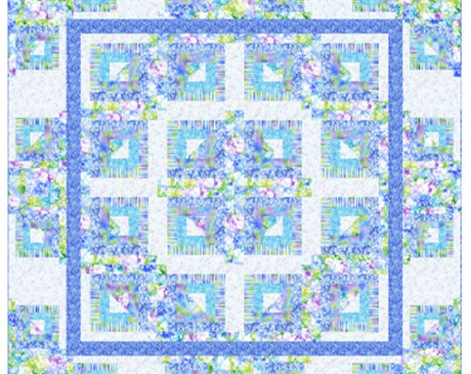 """Quilting Treasures -Mimosa - Cabins Interupted - Throw & Queen Quilt Pattern - Queen 94""""x94"""" - Throw 68""""x68"""" - Sold by the Pattern"""