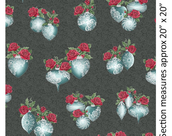 Benartex - A Festive Season II - Lace Ornament - Silver Metallic - Lace - Charcoal - Teal/Charcoal - 2618M11B - Sold by the Yard