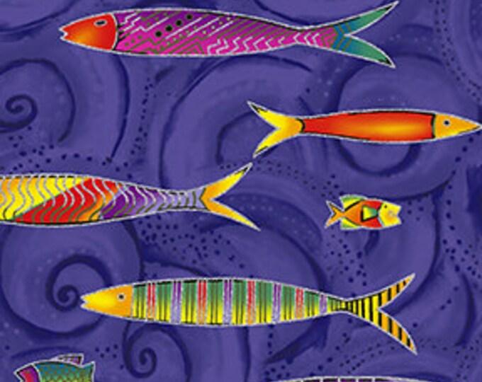 Laurel Burch - Sea Goddess - Fish - Dark Pruple -  Silver Metallic - Y2600-28M - Sold by Yard