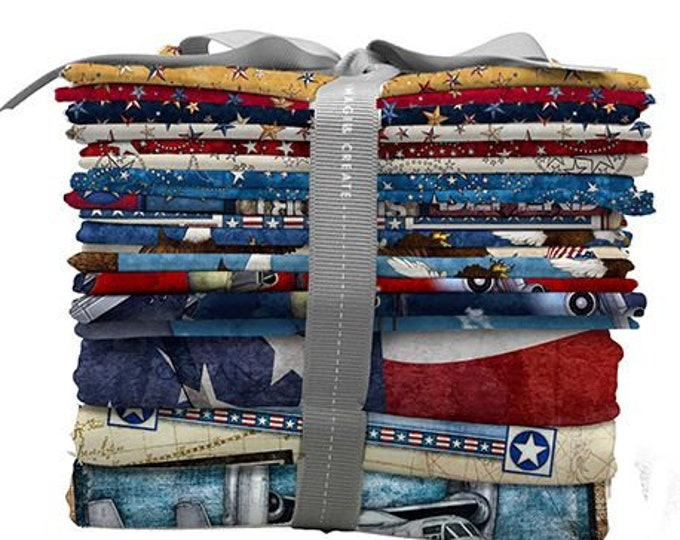 Quilting Treasures - All American  - Fat Quarter Pack - 15 Fat Quarters  and 3 Full Yard Panels - Sold by the Fat Qtr pack