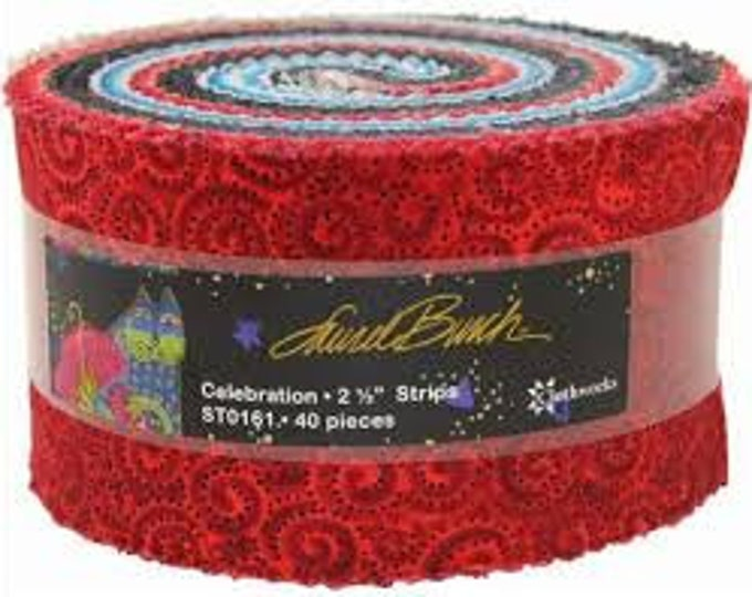 Laurel Burch - Celebration Basics - Jelly Roll - 40 Metallic 2.5 inch Strips - Sold by the Jelly Roll
