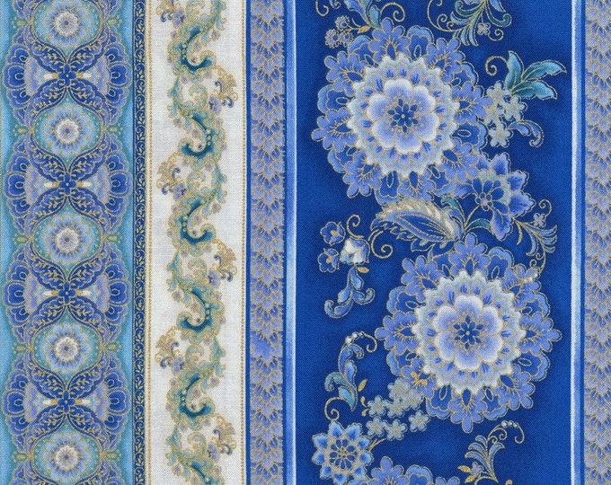 Timeless Treasures - Regency - Border Stripe - Medallion -  Blue/Cream-  Gold Metallic -  Fabric by Yard