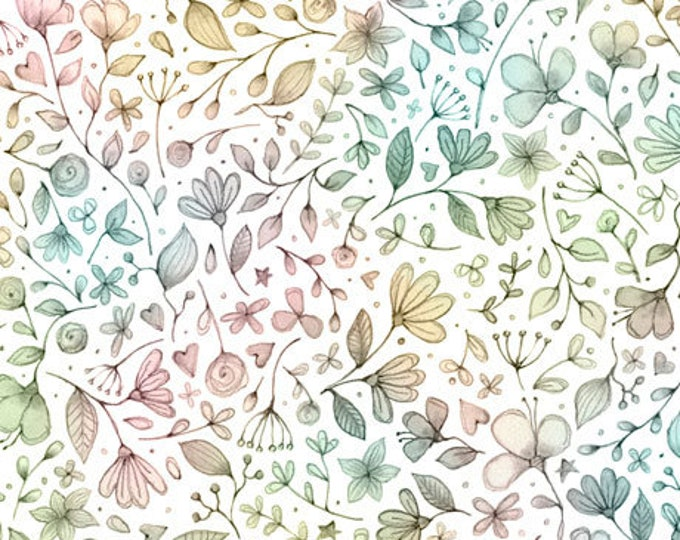 Quilting Treasures - Sweet Thoughts - Floral Ombre - White/Multi -  Sold by the Yard