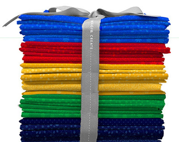 Quilting Treasures - Illusion  Colours - Fat Quarter Pack - 30 Fat Quarters - 6 for Each Color - Red, Green, Yellow, Blue and Navy
