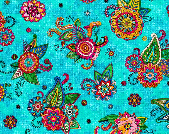 Quilting Treasures -Fiolrella - Teal  -  27180Q - Fabric by the Yard