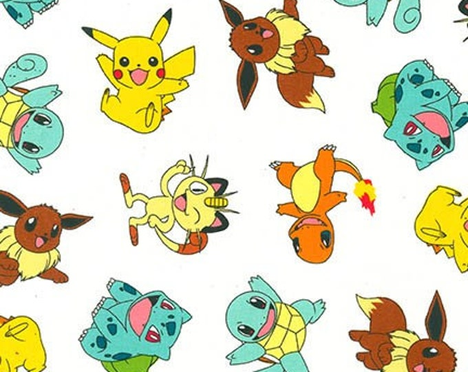 Robert Kaufman - Pokemon - Pokemon Fabric - White background - Sold by the Yard