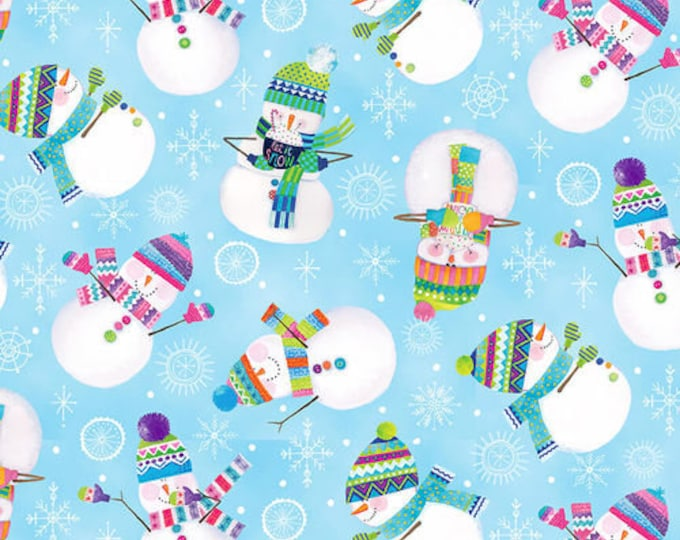 Blank Quilting - By Golly Let's Be Jolly - Tossed Snowmen - Light Blue - 9567-11 - Sold by the Yard