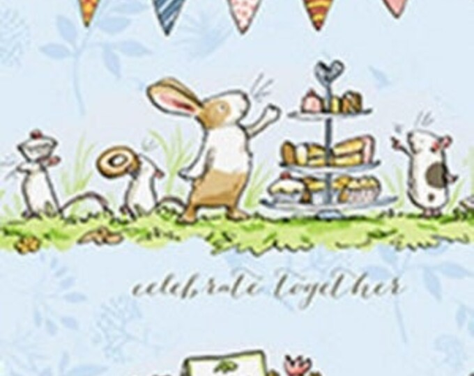 "Clothworks - Garden Party - Animal Scene Toile - Animal -  36"" x 44"" -  y2735-87 - Light Denim - Sold by Yard"
