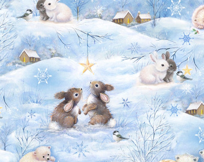 "Quilting Treasures - Woodland Cuties  - Baby Animals - Christmas - Scenic -  36""x44""  - 27114B - Sold by the Yard"