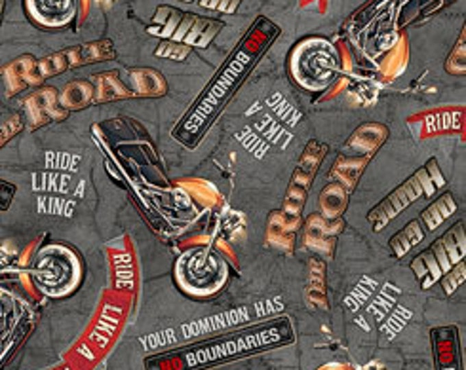 Quilting Treasures - Rule the Road - Lingo - Gray - Motorcycle  -  26688K - Sold by the Yard