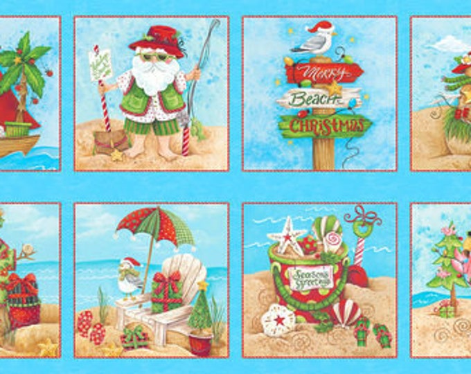 Blank Quilting - Holiday Beach - Panel - Santa fabric - Santa Panel - Surfing Santa- Christmas Flamingo - Flamingo fabric- Sold by the Panel