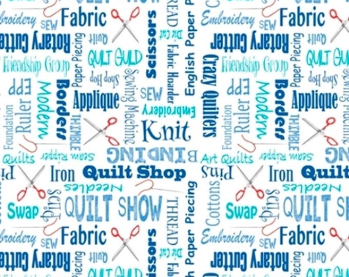 """Quilting Treasures - It's A Shop Hop - Shop Hop Fabric  - Quilter's Lingo - 27555B - Blue - 36""""x43"""" - Sold by the Yard"""