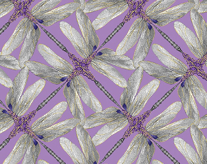 Kanvas for Benartex - Dance of the Dragonfly - Pinwheel Geo - Lavender/Gray - 8502-61 - Gold Metallic - Sold by the Yard