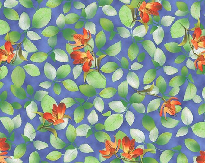 Quilting Treasures - Belle - Dark Periwinkle - Flower and Leaf - Floral -  Sold by the yard