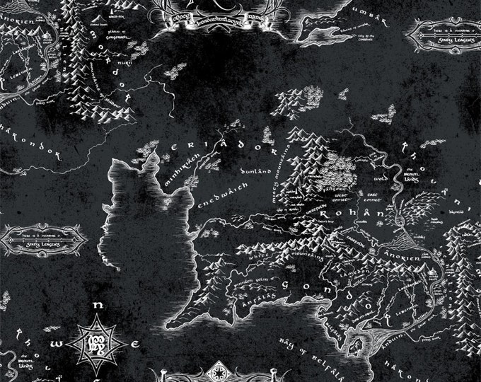 Camelot - Lord of the Rings 2 - Middle Earth Map - Black - 23220204 - Sold by the Yard