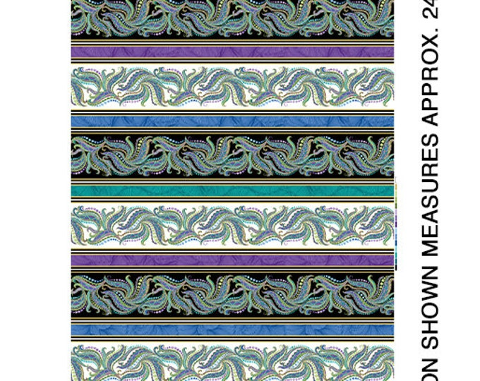 Benartex - Horsen Around  - Mane Swirl Border Stripe -  Horse - Metallic - Mane Stripe - White and Black Multi - 6852M99B - Sold by the Yard