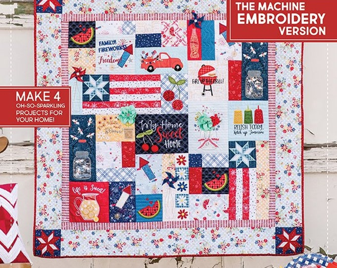 Kimberbell - Red White and Bloom - Book - Embellishment Kit- Embroidery CD & Embellishment Kit - Sold by the Kit- FREE SHIPPING