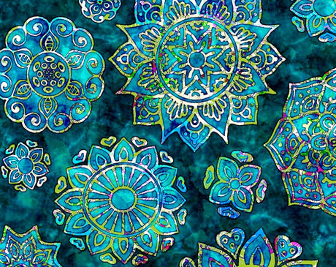Quilting Treasures - Kashmir - Mandalas -  Lagoon - Sold by the Yard  -  27399Q