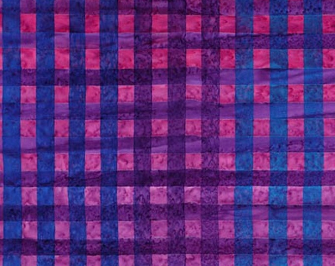 Robert Kaufman - Hand Painted Gingham - Batik -  AMD-17769-18 - Gingham Plaid Batik - Grape - Sold by the Yard