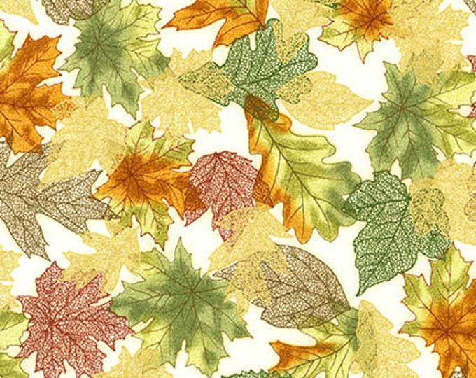 Robert Kaufman - Shades of the Season 10 - Gold Metallic - Filegree - Leaves- Fall - Autumn - SRKM-16751-191 - Sold by the Yard