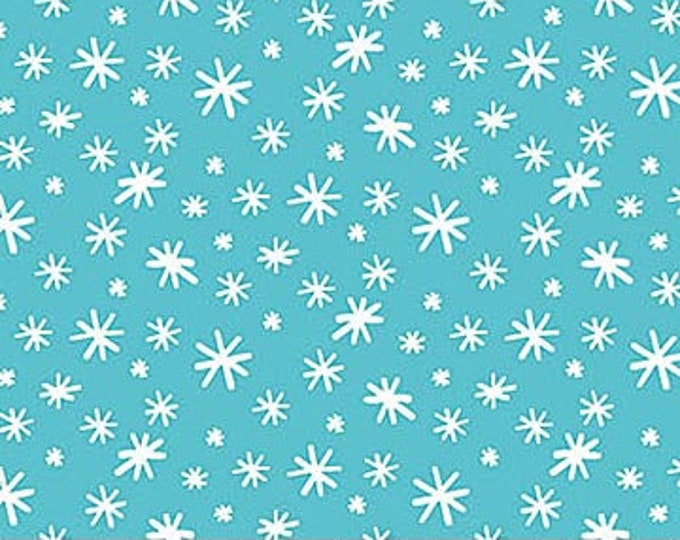 Northcot  - Yeti for Winter - flannel - F22212-64 - Turquoise - Snowflakes - Sold by the Yard