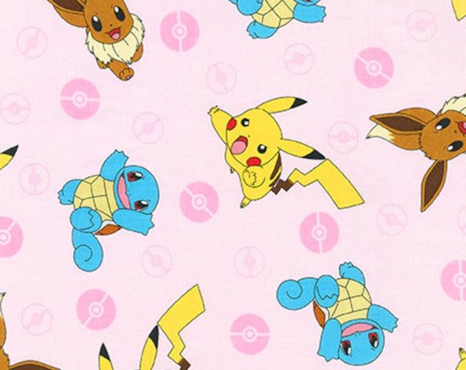 Robert Kaufman - Pokemon - Pikachu - Squirtle - Pokemon - AOQ-7441-96 - Blush / Pink - Sold by the Yard