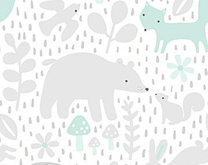 New - Northcott - Hello Little One - Gray Forest with Blue/Mint- Animal Baby Print - Baby Pastel - Baby - Pastel - 22692-61 -  Sold by yard