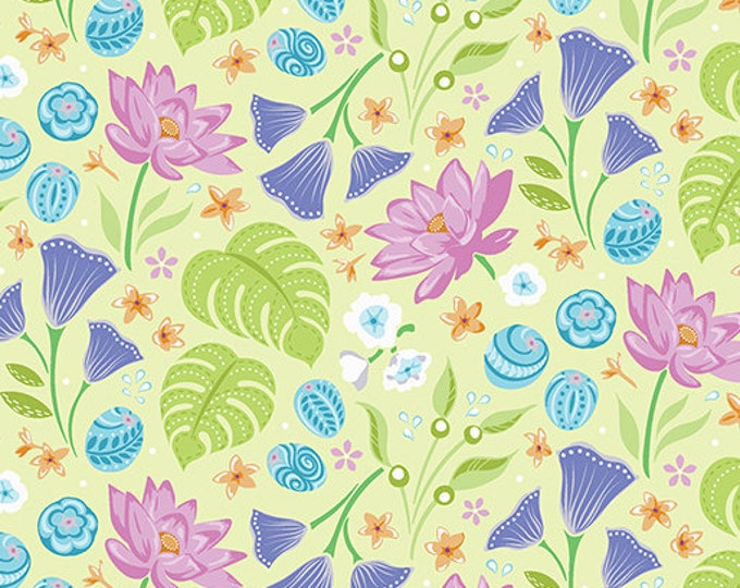 Benartex - Contempo - Crescendo - by Amanda Murphy - Floral Lime -  10251-43 - Flowers and Shells  - Sold by the Yard