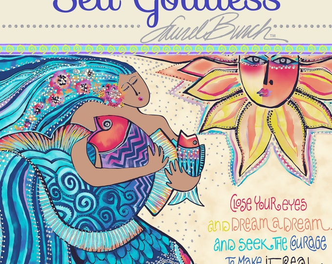 "Laurel Burch - Sea Goddess - Fat Quarter Panel - Panel - Teal - appx 18""x22"" - Sold by Panel"