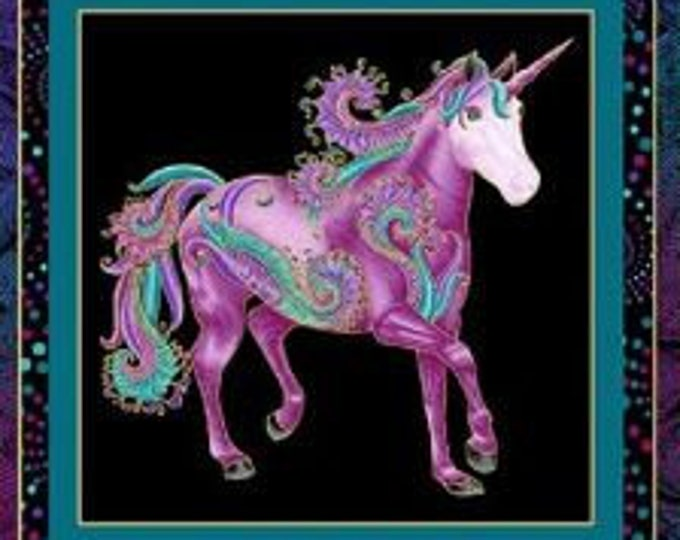 Benartex - I Believe in Unicorns  - Panel  - Unicorn - Metallic - Unicorn Panel - Panel - Black/Multi Panel -  10390M12- Sold by the Panel