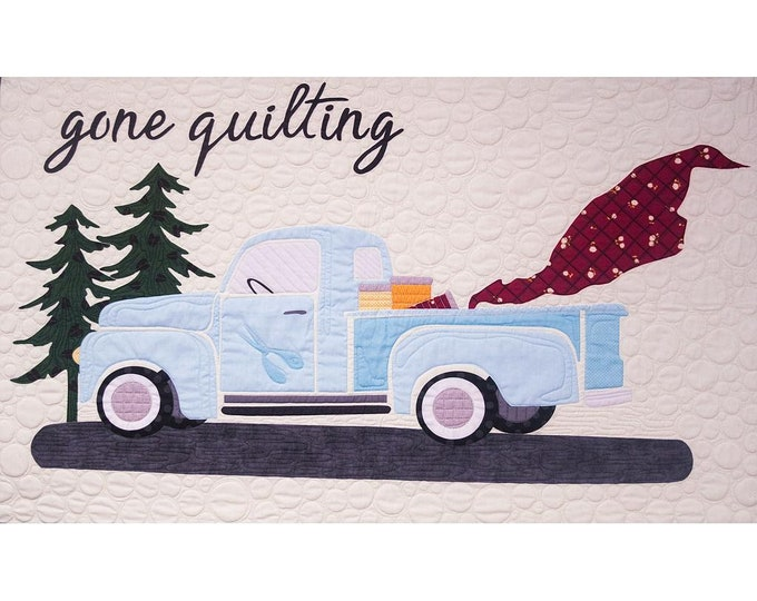 "Gone Quilting  - Pre-cut/fused Kit - 48""x30"" - Precut/Fused Applique Kit - precut kit - Blue Truck - Sold by the Kit"