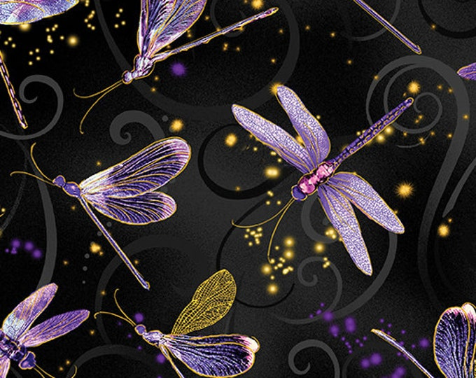 Kanvas for Benartex - Dance of the Dragonfly - Black - 8498M-66 - Gold Metallic - Sold by the Yard