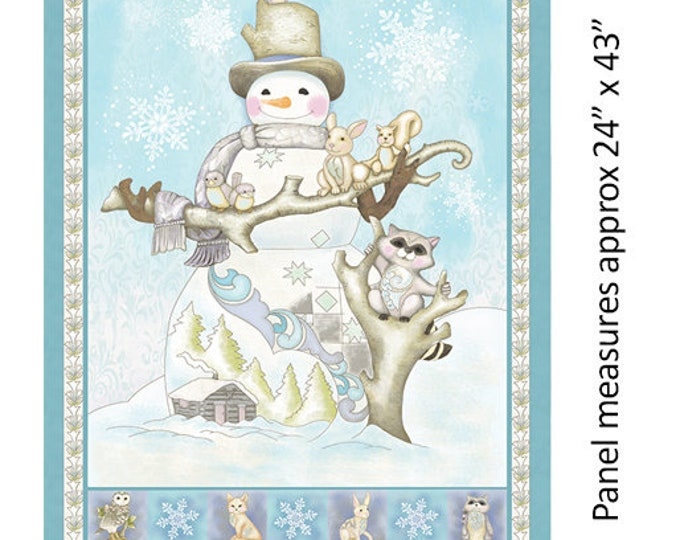 Benartex - White Woodland - White Woodland Panel - Turquoise - Panel - Snowman Panel - Snowman  - 06646-84 - Sold by the Panel