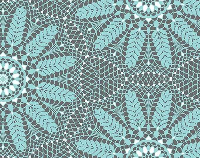 Benartex - Contempo - Meadow Dance - by Amanda Murphy - Crochet Lace - Aqua - 4043-05 - Sold by the Yard
