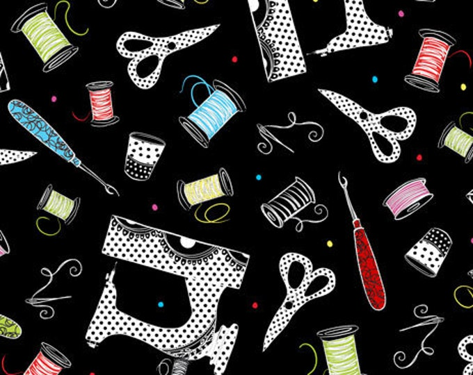 Quilting Treasures - Sew Sassy - Sewing Ladies - Tossed Sewing Machines and Notions - Black - 26786J - Sold by the Yard